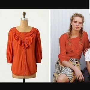 Anthro Maeve Nicoletta Orange Ruffle Peasant Top